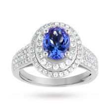Tanzanite and Diamond set Ring in 18 Carat White Gold