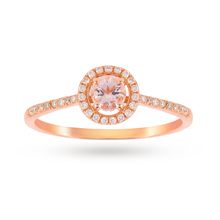 9ct Rose Gold 0.27ct Morganite And 0.13ct Diamond Halo Ring 4x4mm