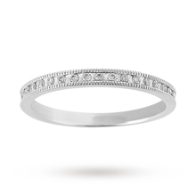 Brilliant Cut 0.15 Carat Total Weight Diamond Set Milgrain Half Eternity Ring in 9 Carat White Gold