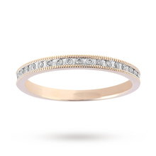 Brilliant Cut 0.15 Carat Total Weight Diamond Set Milgrain Half Eternity Ring in 9 Carat Yellow Gold