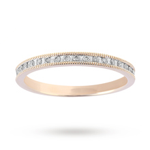 Brilliant Cut 0.20 Carat Total Weight Diamond Set Milgrain Half Eternity Ring in 9 Carat Yellow Gold