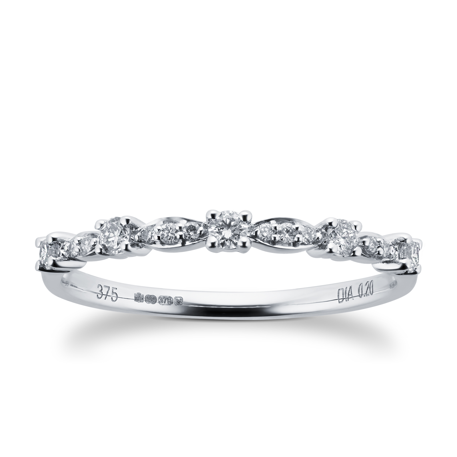 Brilliant and Marquise Cut Diamond Half Eternity Ring in 9 Carat White Gold