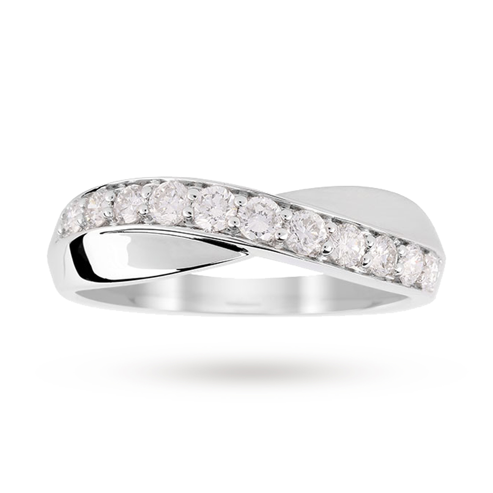 9ct White Gold Cross Over 0.50ct Diamond Ring