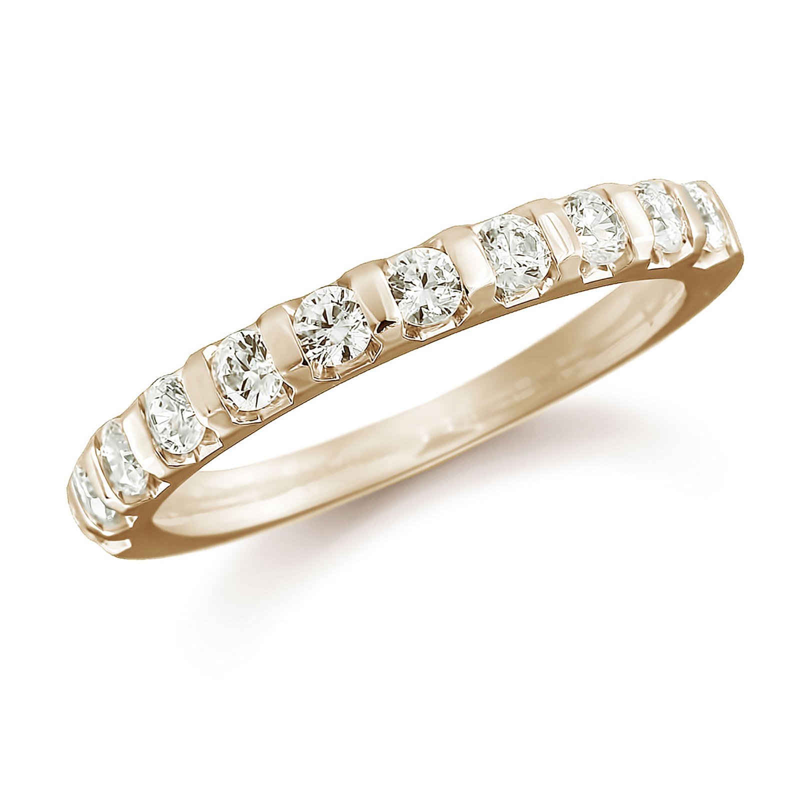 18ct Yellow Gold 0.77ct Bar Set Half Eternity Ring