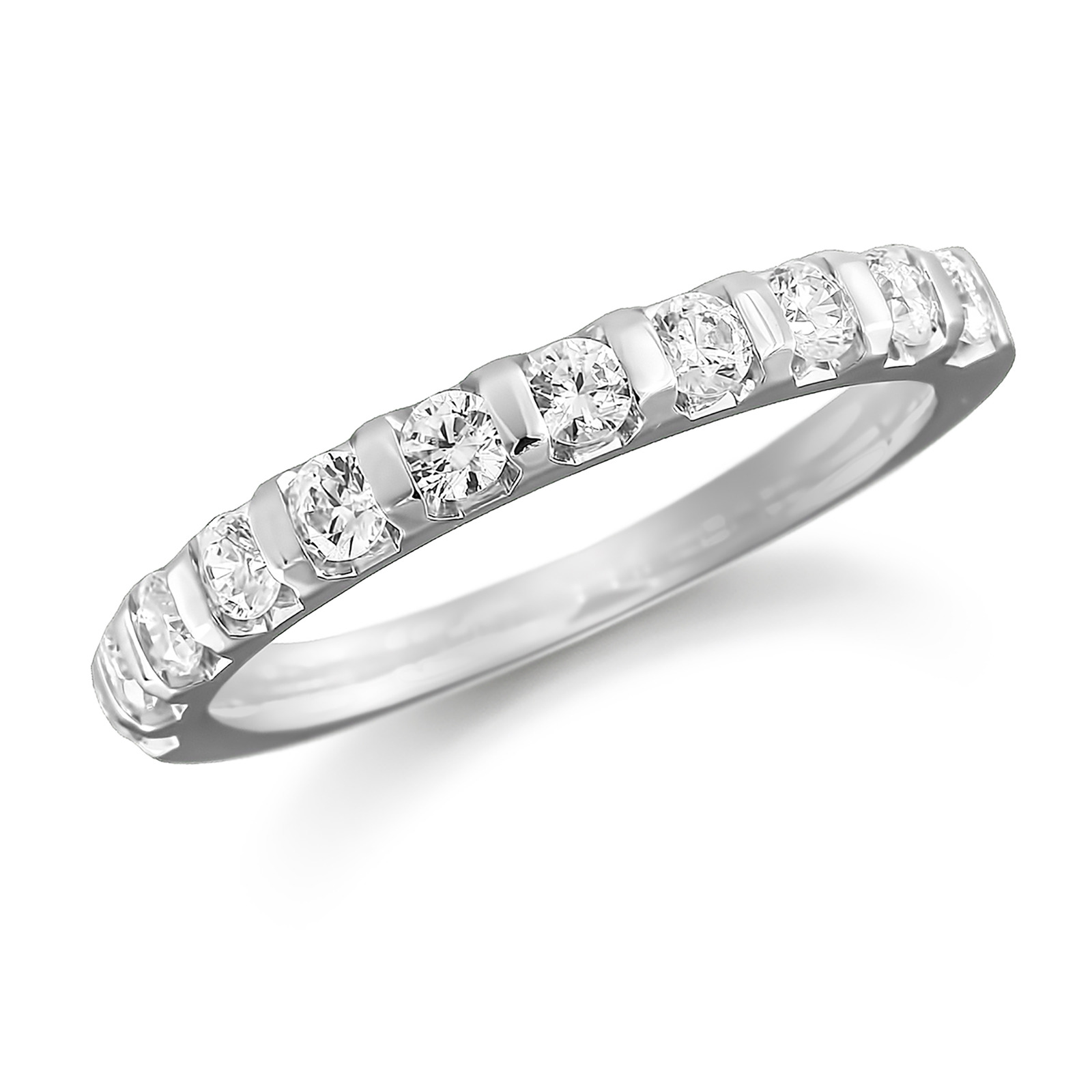 Platinum 1.00ct Bar Set Half Eternity Ring