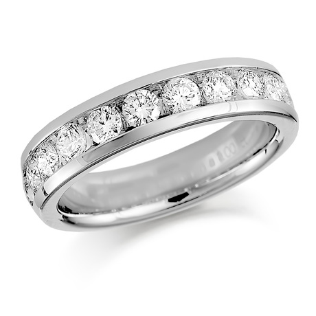 Platinum 0.50ct Round Brilliant Cut Channel Set Half Eternity Ring
