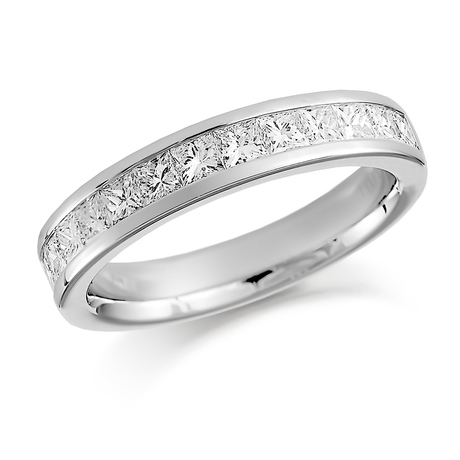 Platinum 1.00ct Princess Cut Channel Set Half Eternity Ring