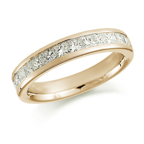 18ct Yellow Gold 1.00ct Princess Cut Channel Set Half Eternity Ring