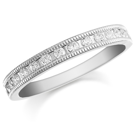 Platinum 0.50ct Milgrained Edge Half Eternity Ring