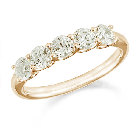 18ct Yellow Gold 0.75ct Five Stone Eternity Ring