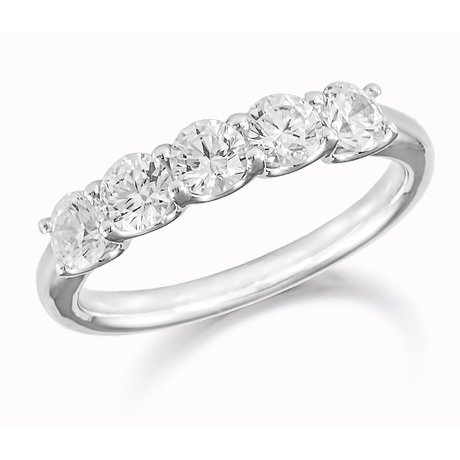 Platinum 0.75ct Five Stone Eternity Ring
