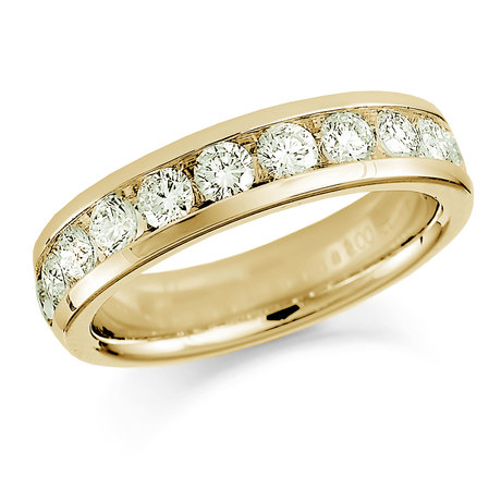 18ct Yellow Gold 1.50ct Round Brilliant Cut Channel Set Half Eternity Ring