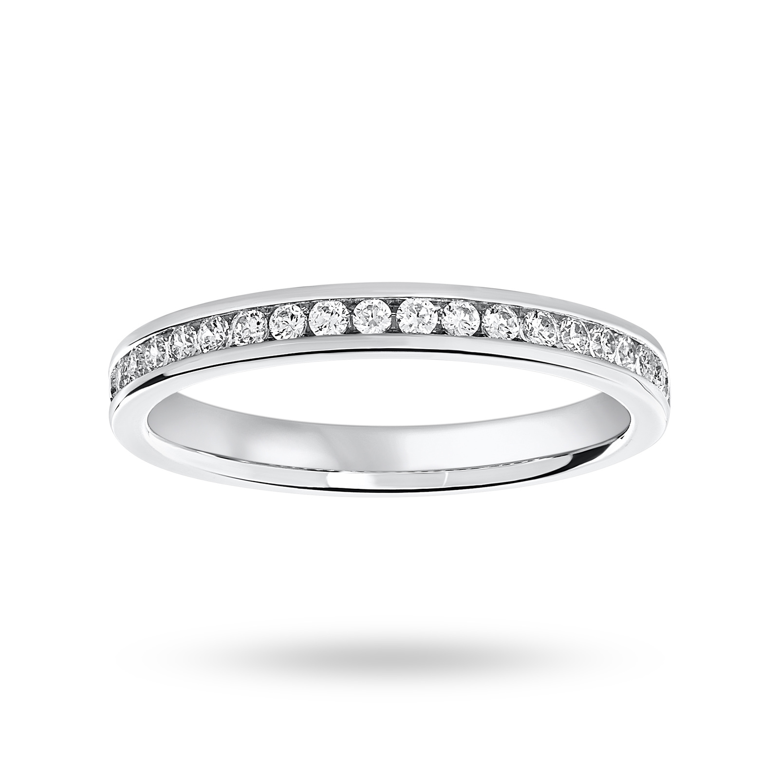 Platinum 0.25 Carat Brilliant Cut Half Eternity Ring