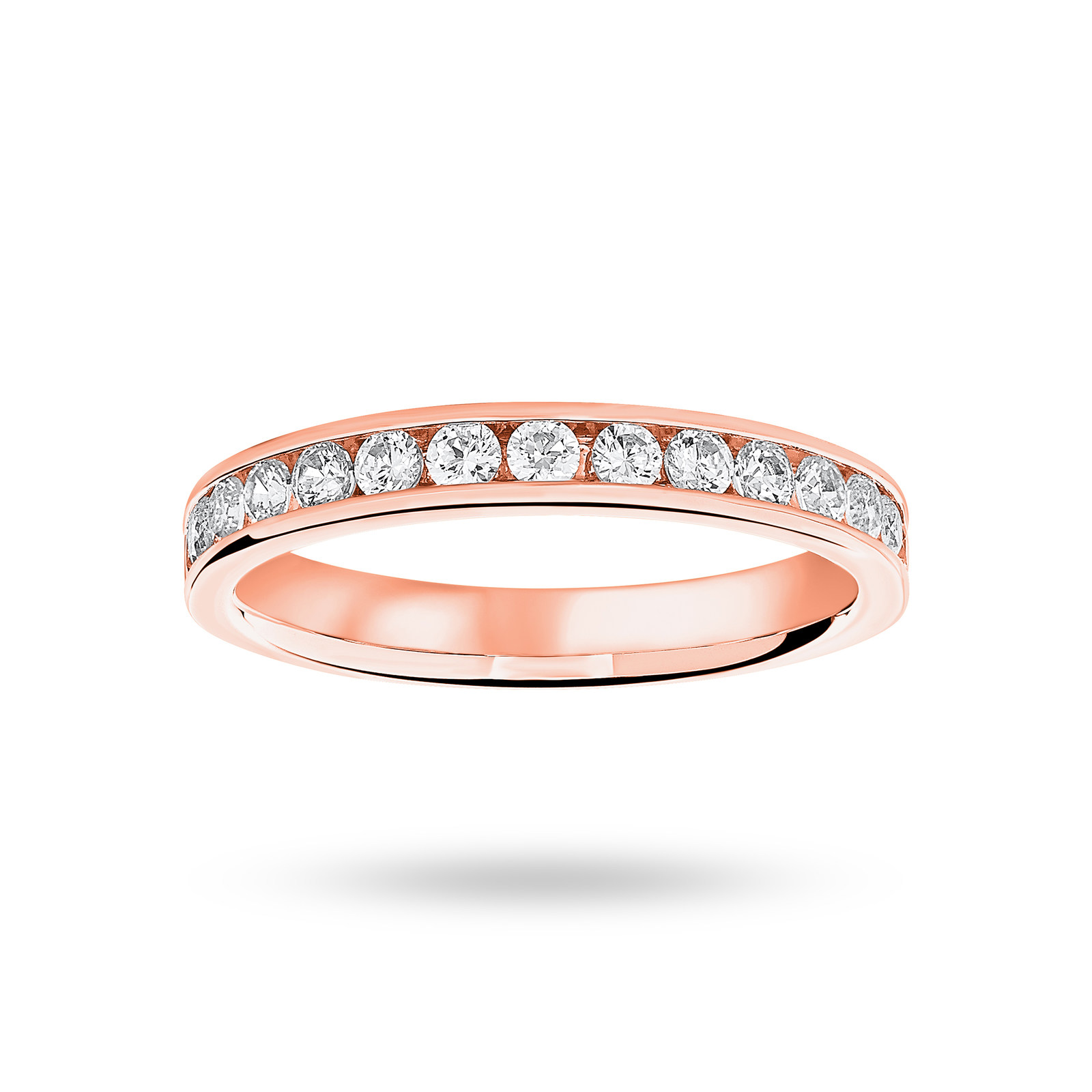 18 Carat Rose Gold 0.50 Carat Brilliant Cut Half Eternity Ring