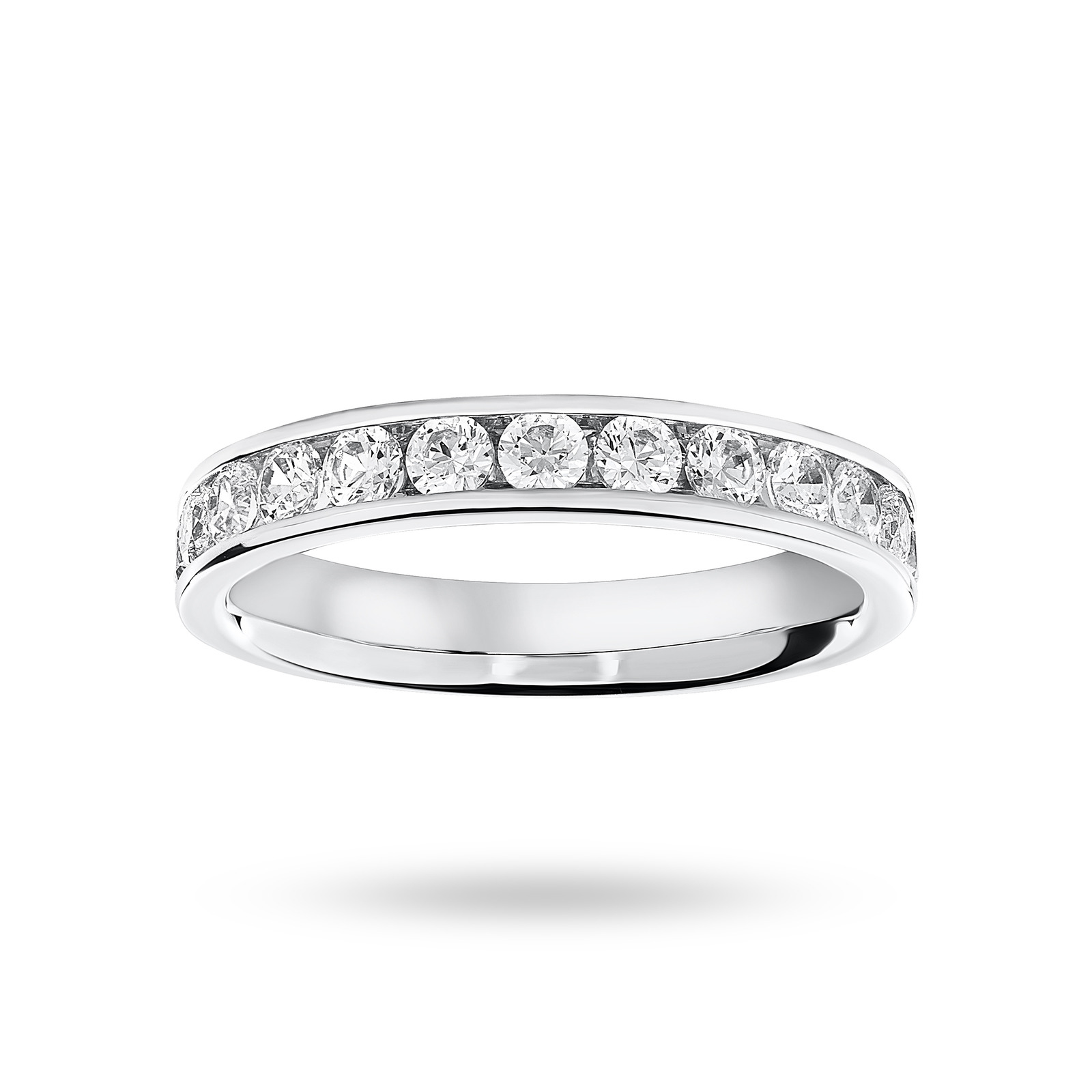 Platinum 0.75cttw Diamond Half Eternity Ring