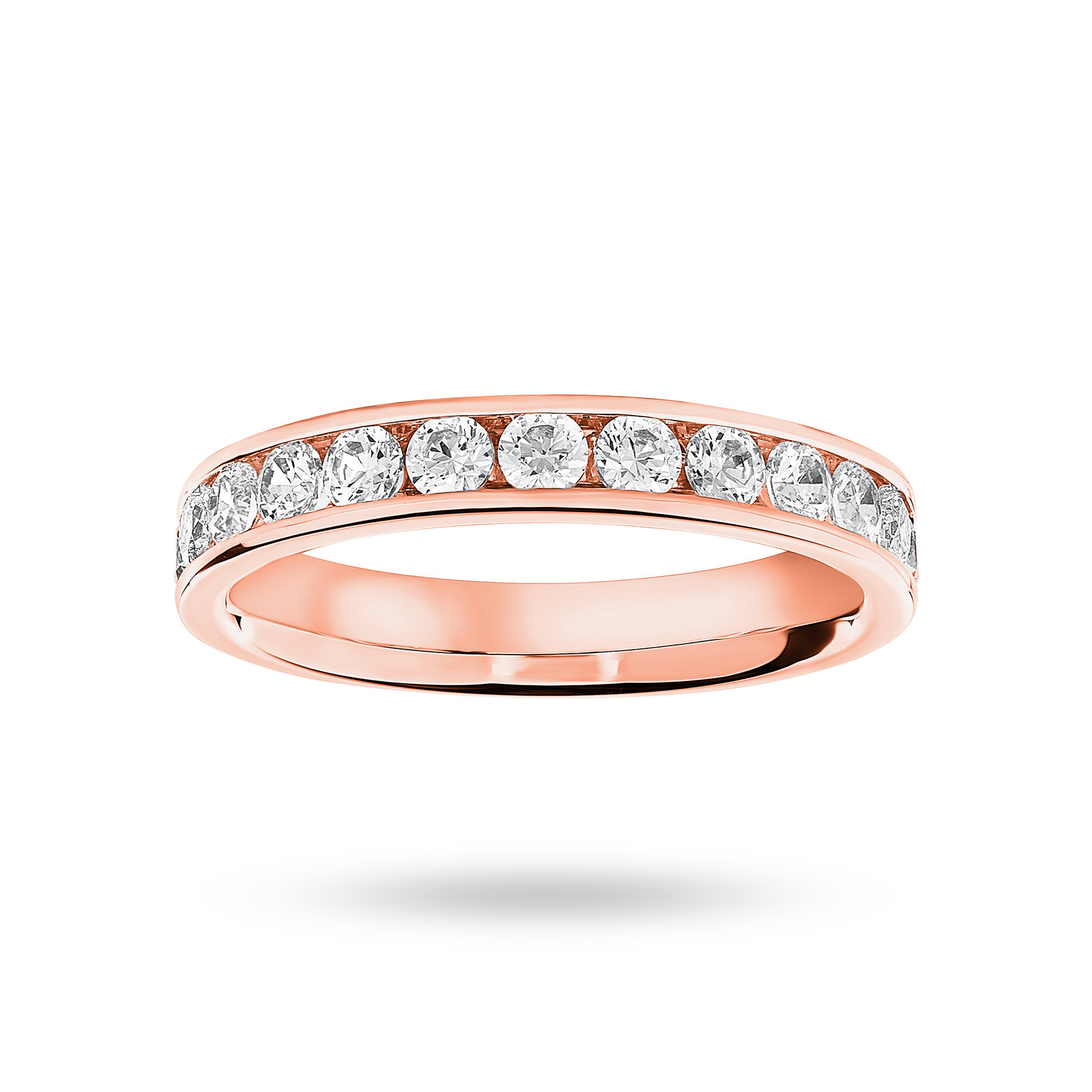 18 Carat Rose Gold 0.75 Carat Brilliant Cut Half Eternity Ring