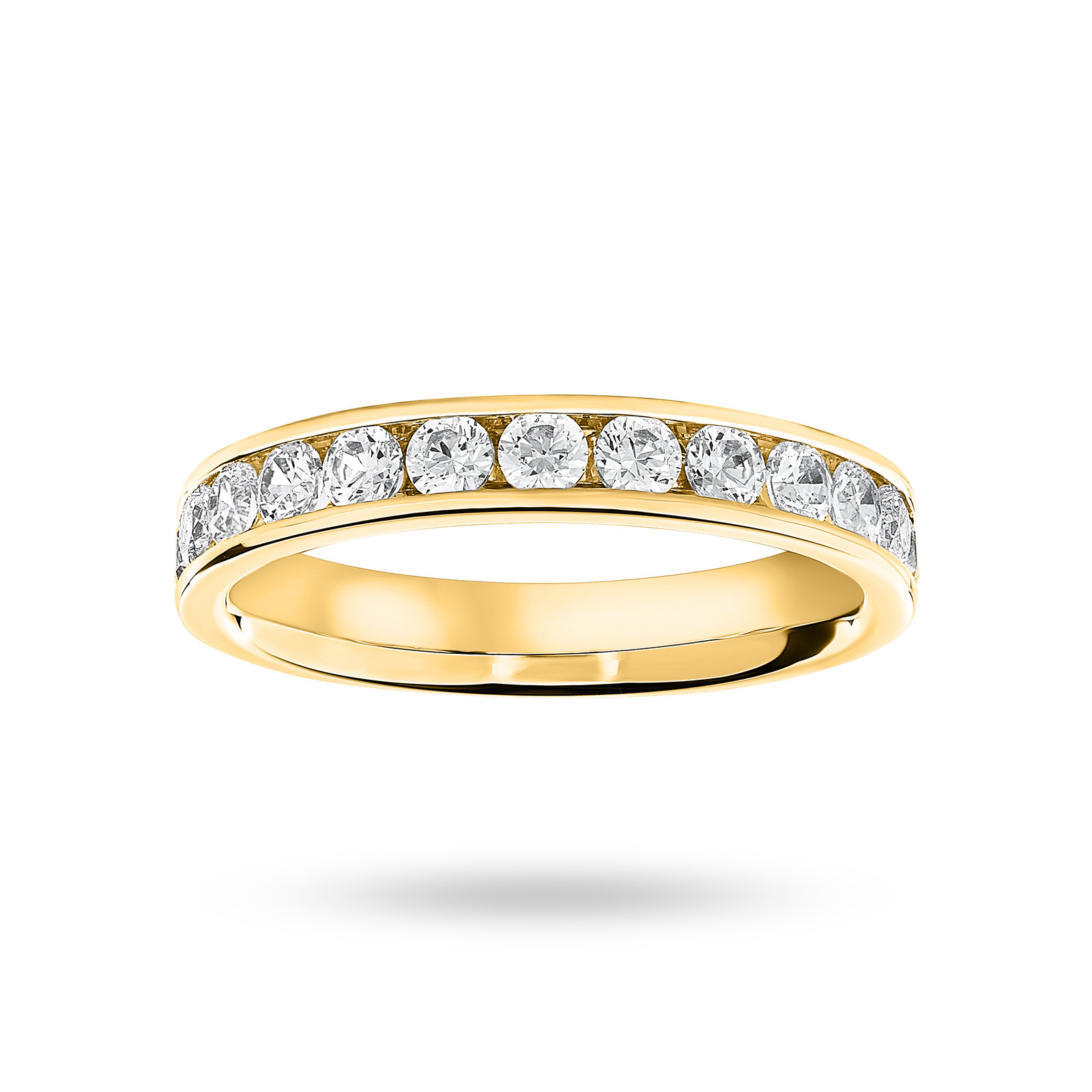18 Carat Yellow Gold 0.75 Carat Brilliant Cut Half Eternity Ring