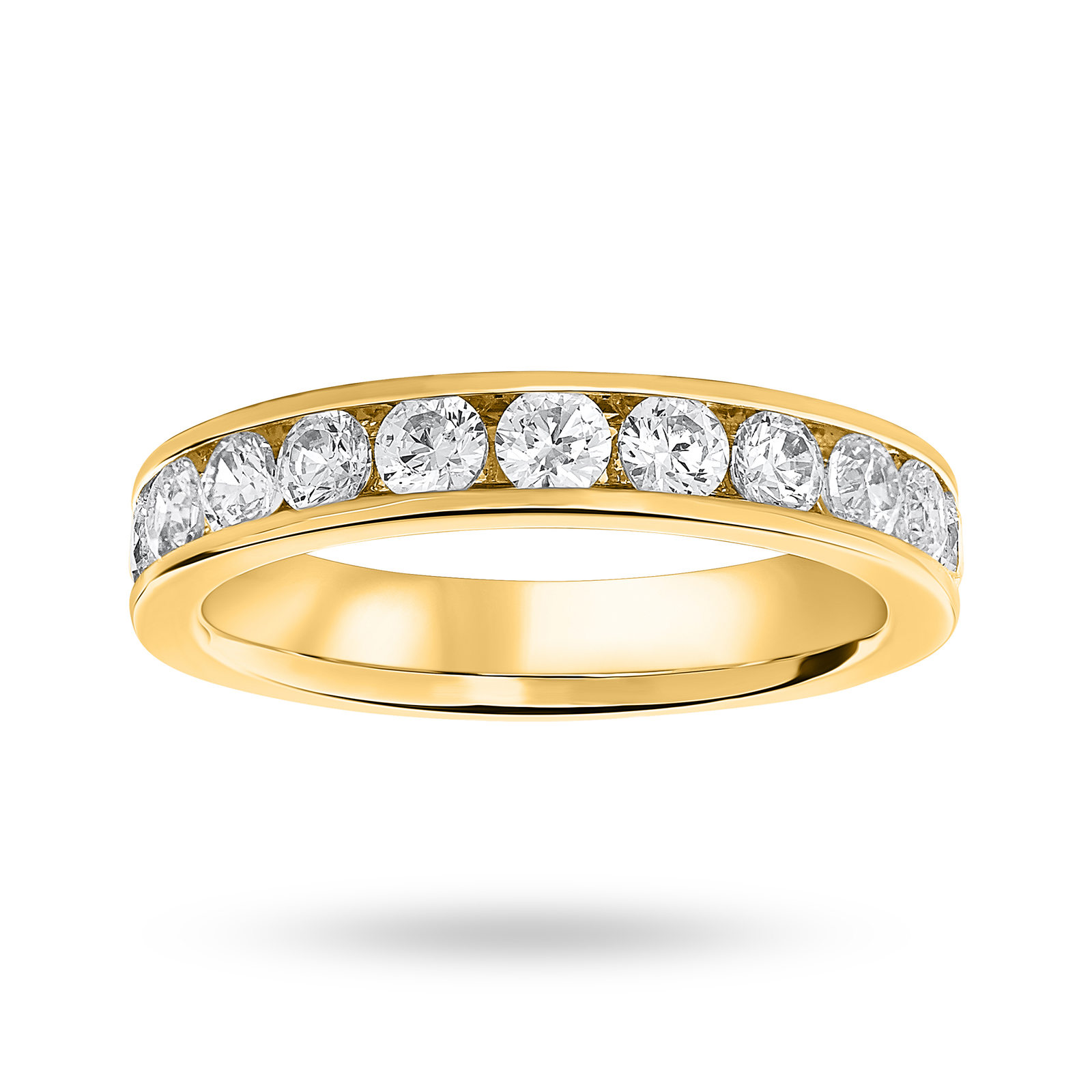 9 Carat Yellow Gold 1.00 Carat Brilliant Cut Half Eternity Ring