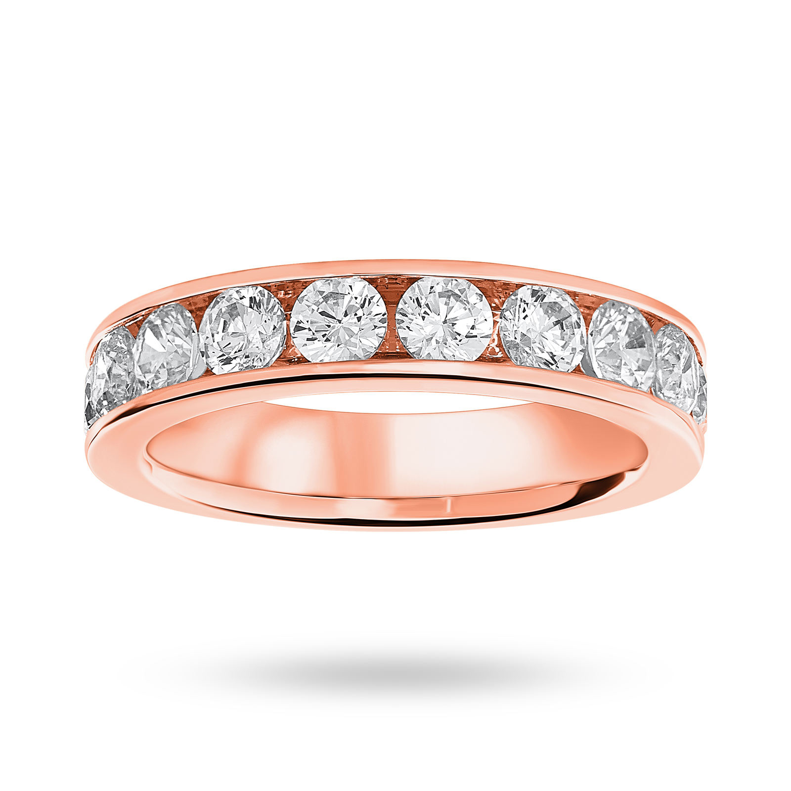 9 Carat Rose Gold 1.50 Carat Brilliant Cut Half Eternity Ring