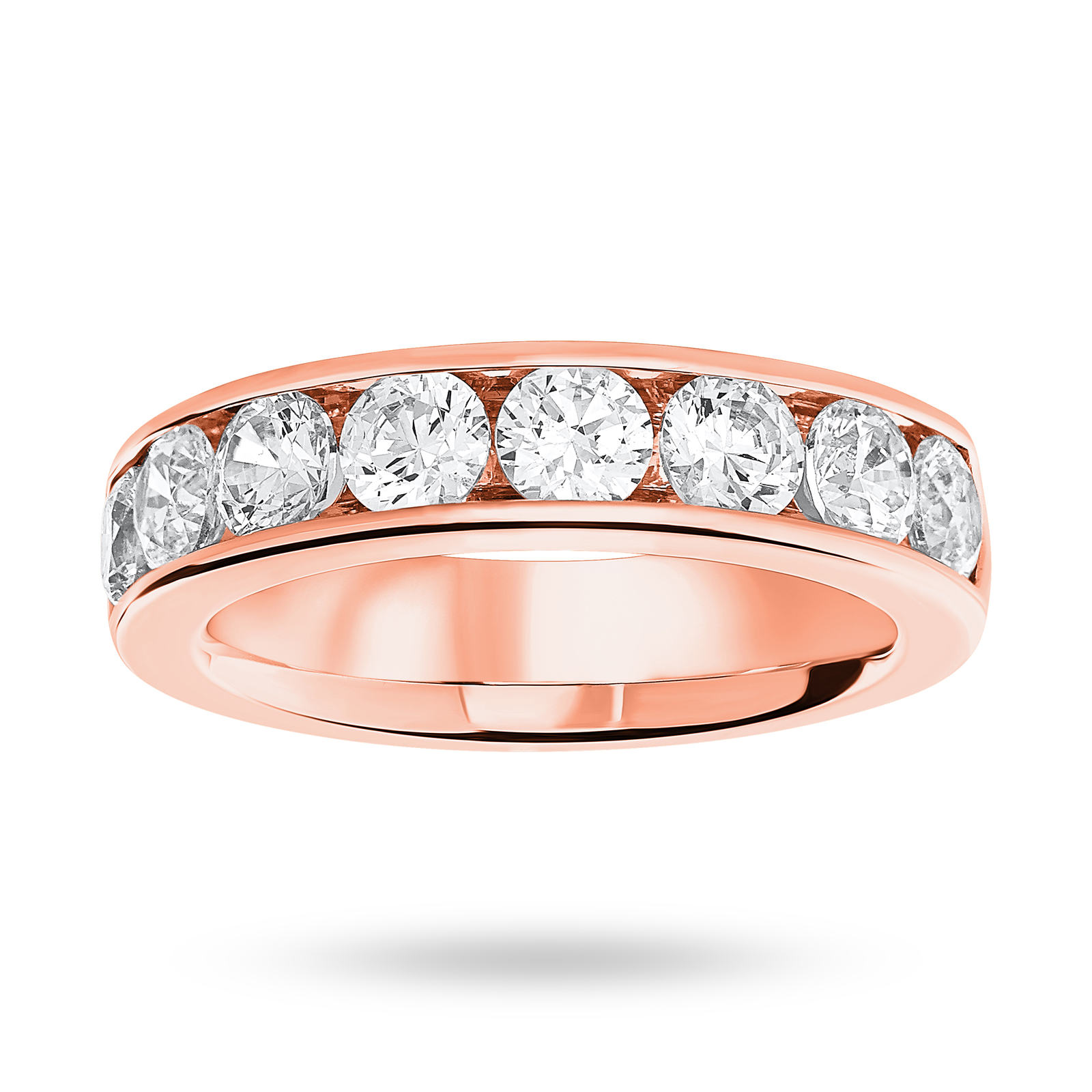 9 Carat Rose Gold 1.85 Carat Brilliant Cut Half Eternity Ring