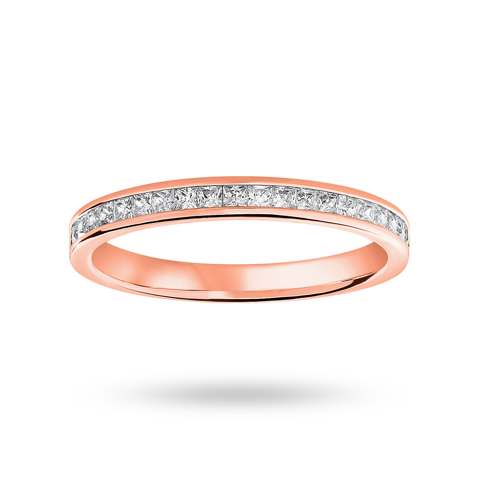 18 Carat Rose Gold 0.33 Carat Princess Cut Half Eternity Ring