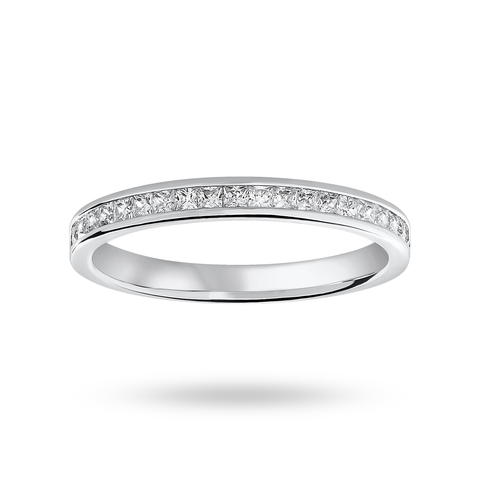 18 Carat White Gold 0.33 Carat Princess Cut Half Eternity Ring