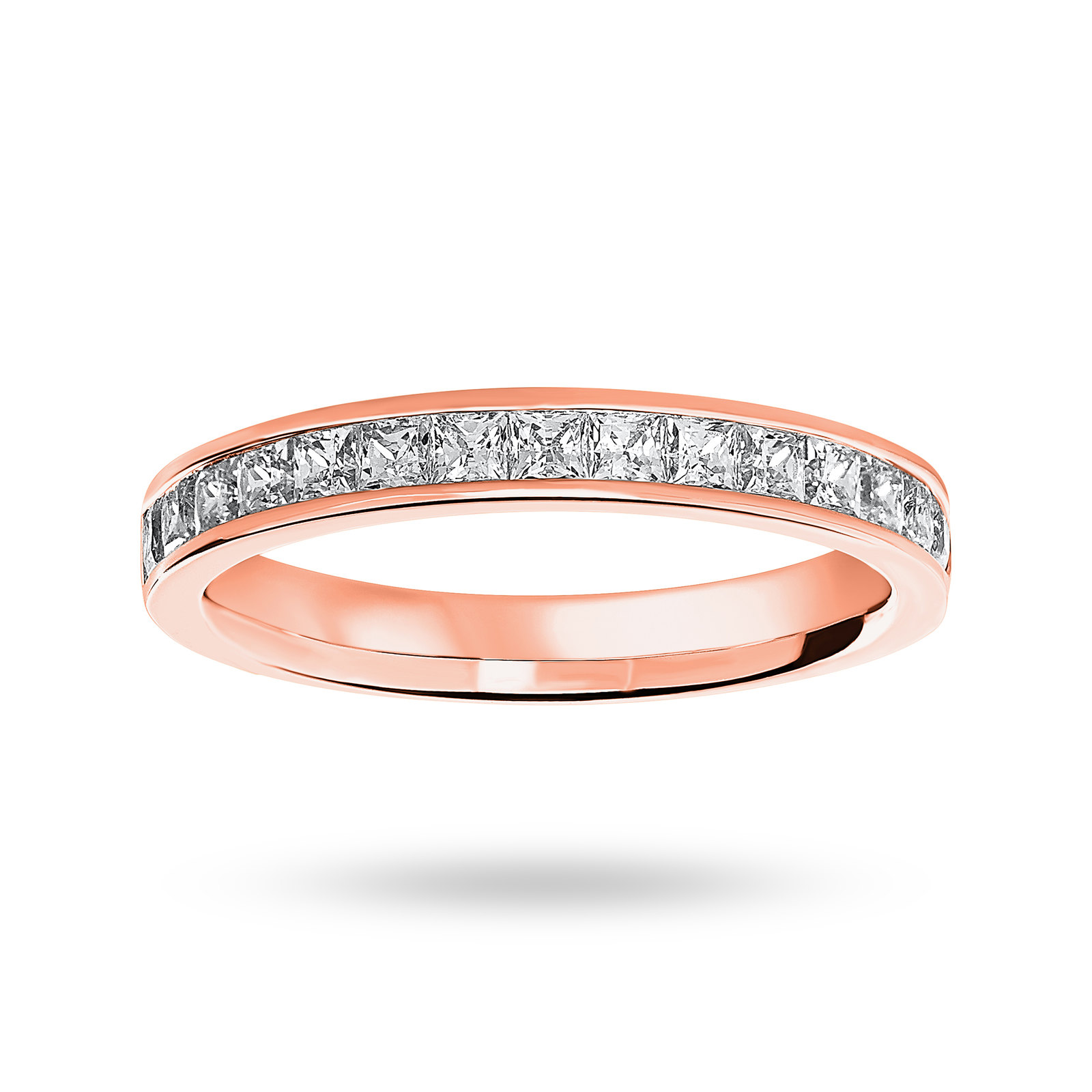 9 Carat Rose Gold 0.75 Carat Princess Cut Half Eternity Ring
