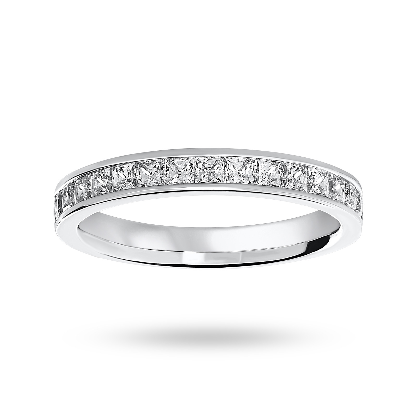 9 Carat White Gold 0.75 Carat Princess Cut Half Eternity Ring