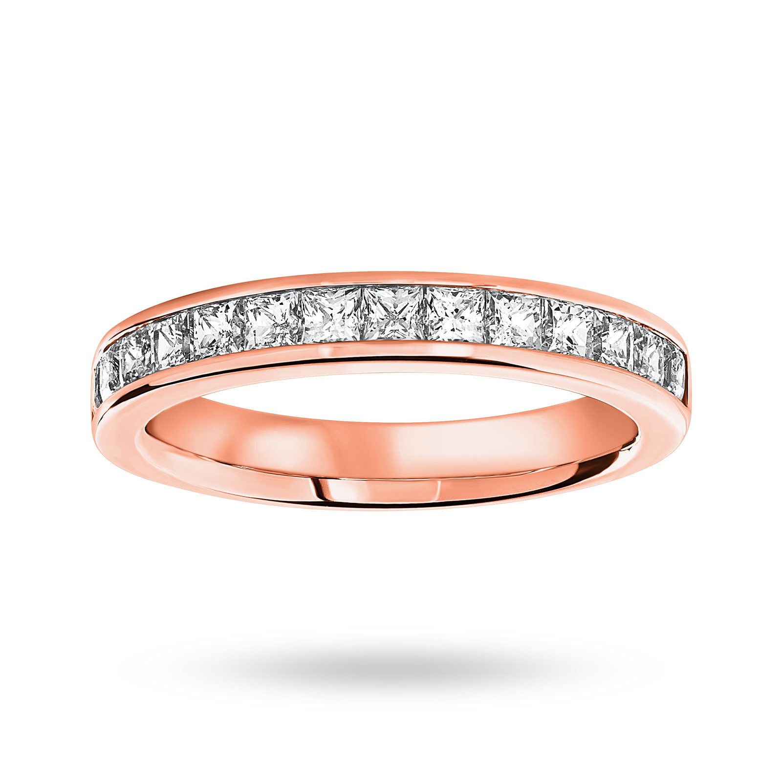 18 Carat Rose Gold 1.00 Carat Princess Cut Half Eternity Ring