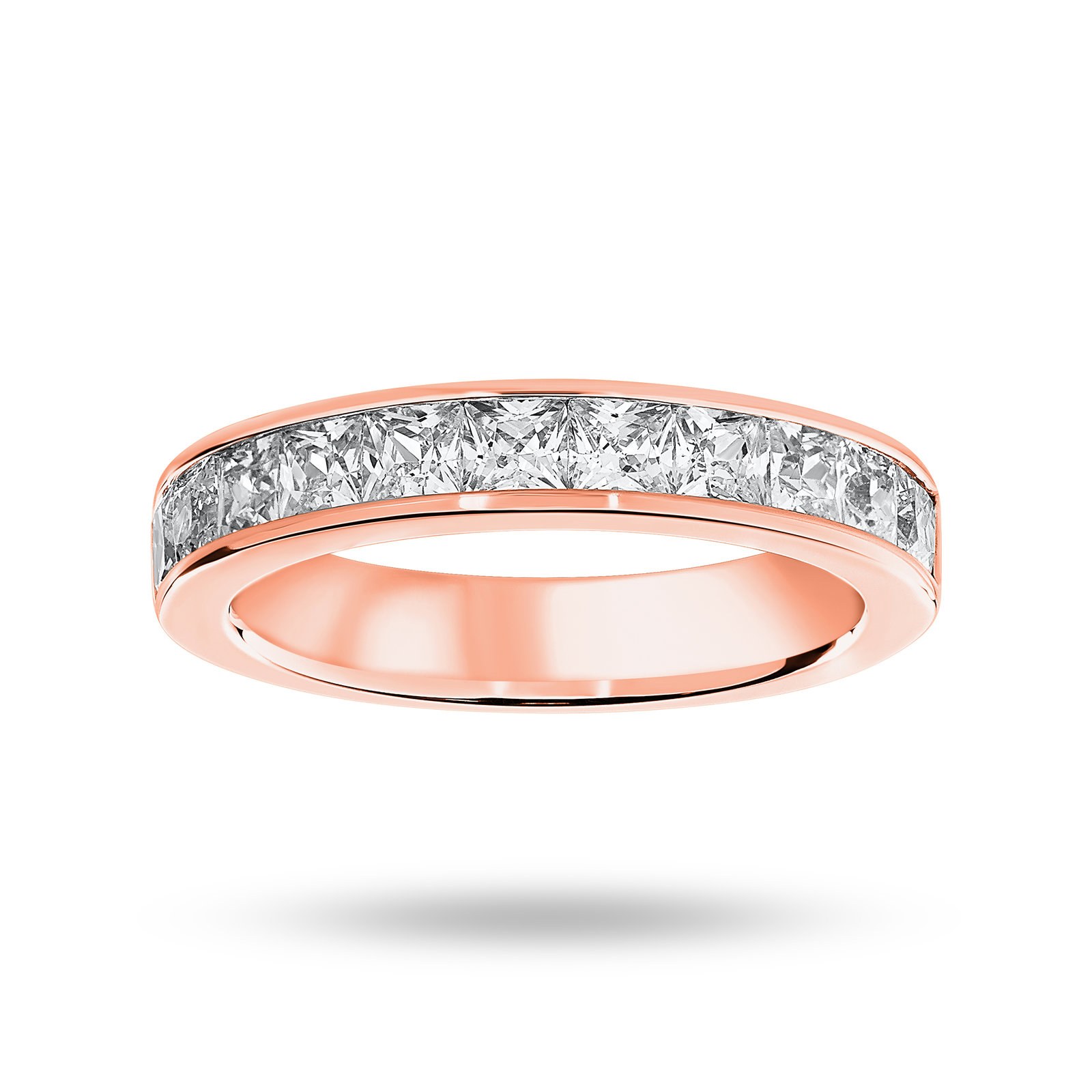 9 Carat Rose Gold 1.50 Carat Princess Cut Half Eternity Ring