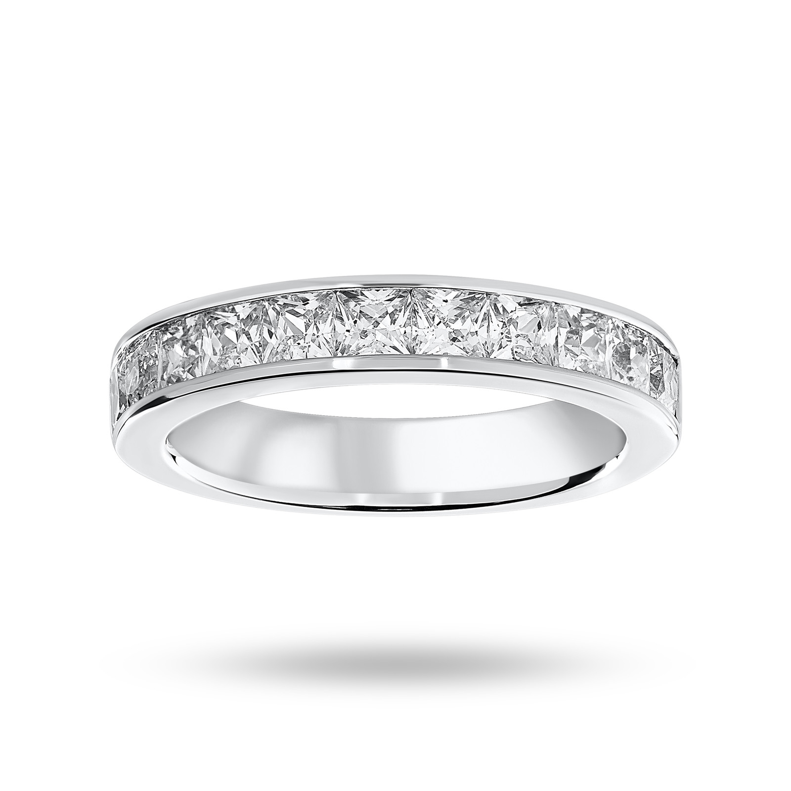 9 Carat White Gold 1.50 Carat Princess Cut Half Eternity Ring