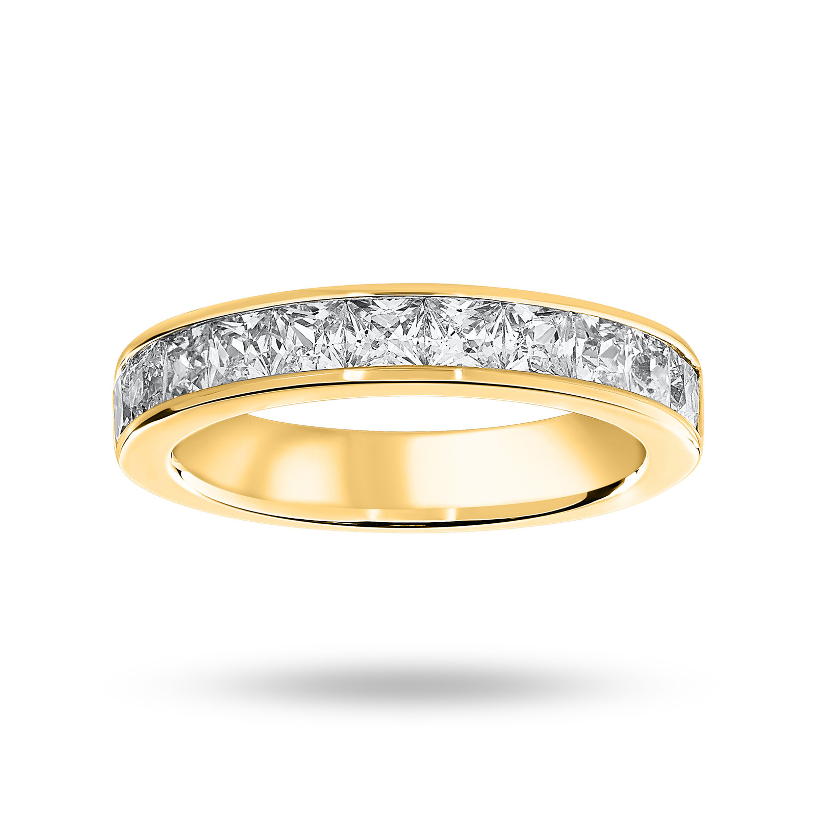 9 Carat Yellow Gold 1.50 Carat Princess Cut Half Eternity Ring