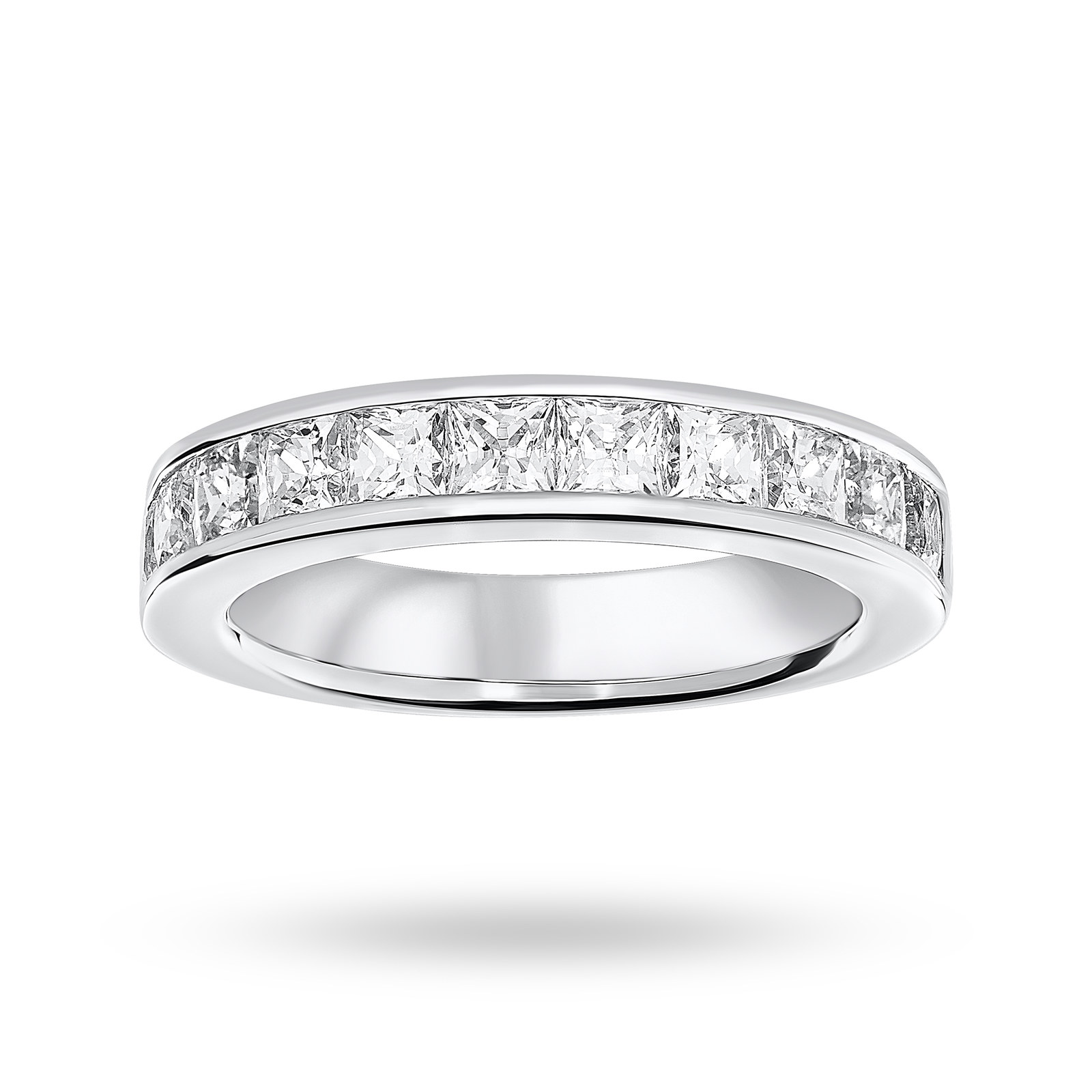 Platinum 2.00 Carat Princess Cut Half Eternity Ring