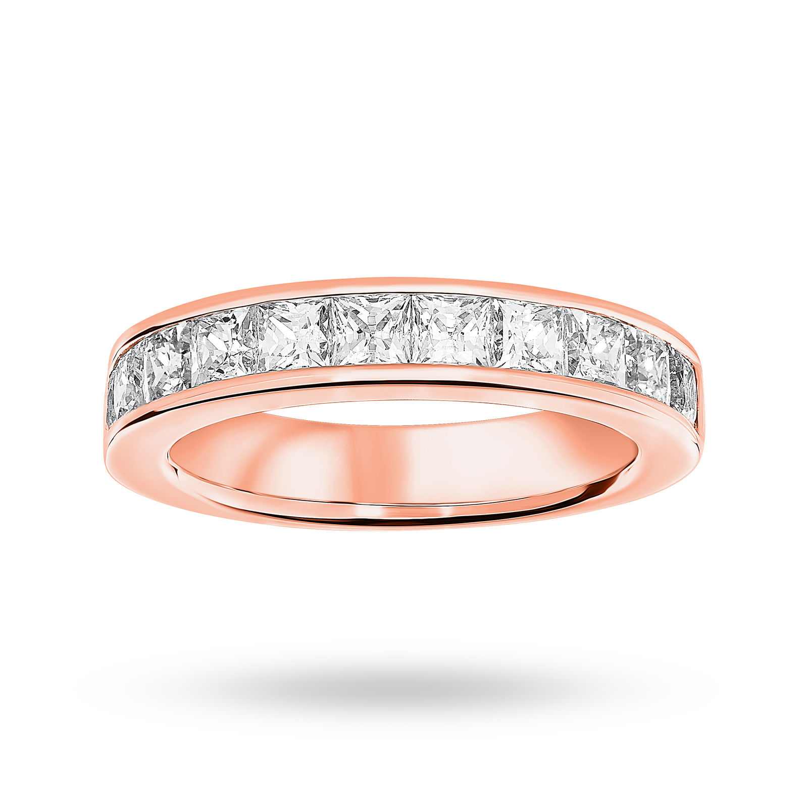 9 Carat Rose Gold 2.00 Carat Princess Cut Half Eternity Ring