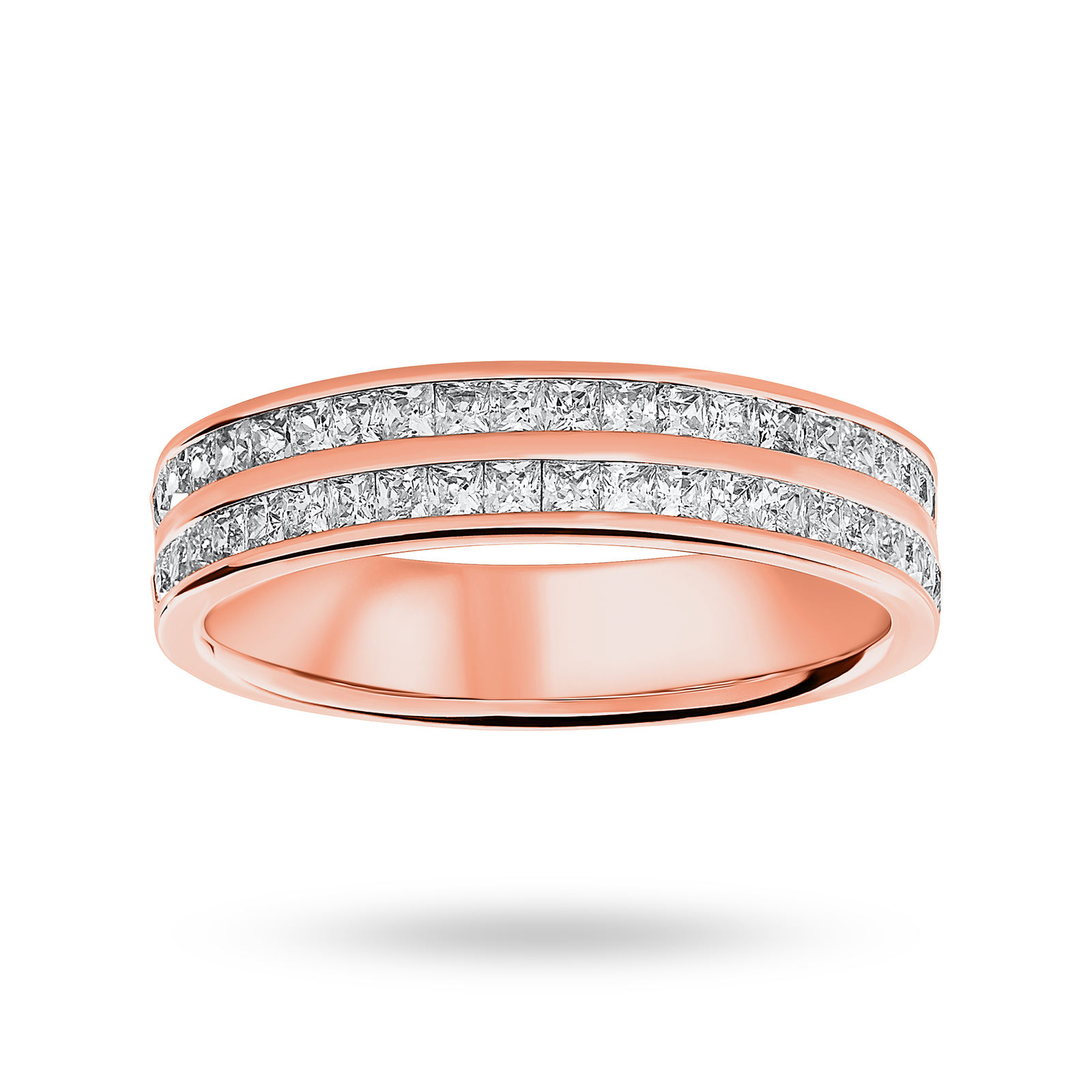 9 Carat Rose Gold 0.75 Carat Princess Cut 2 Row Half Eternity Ring