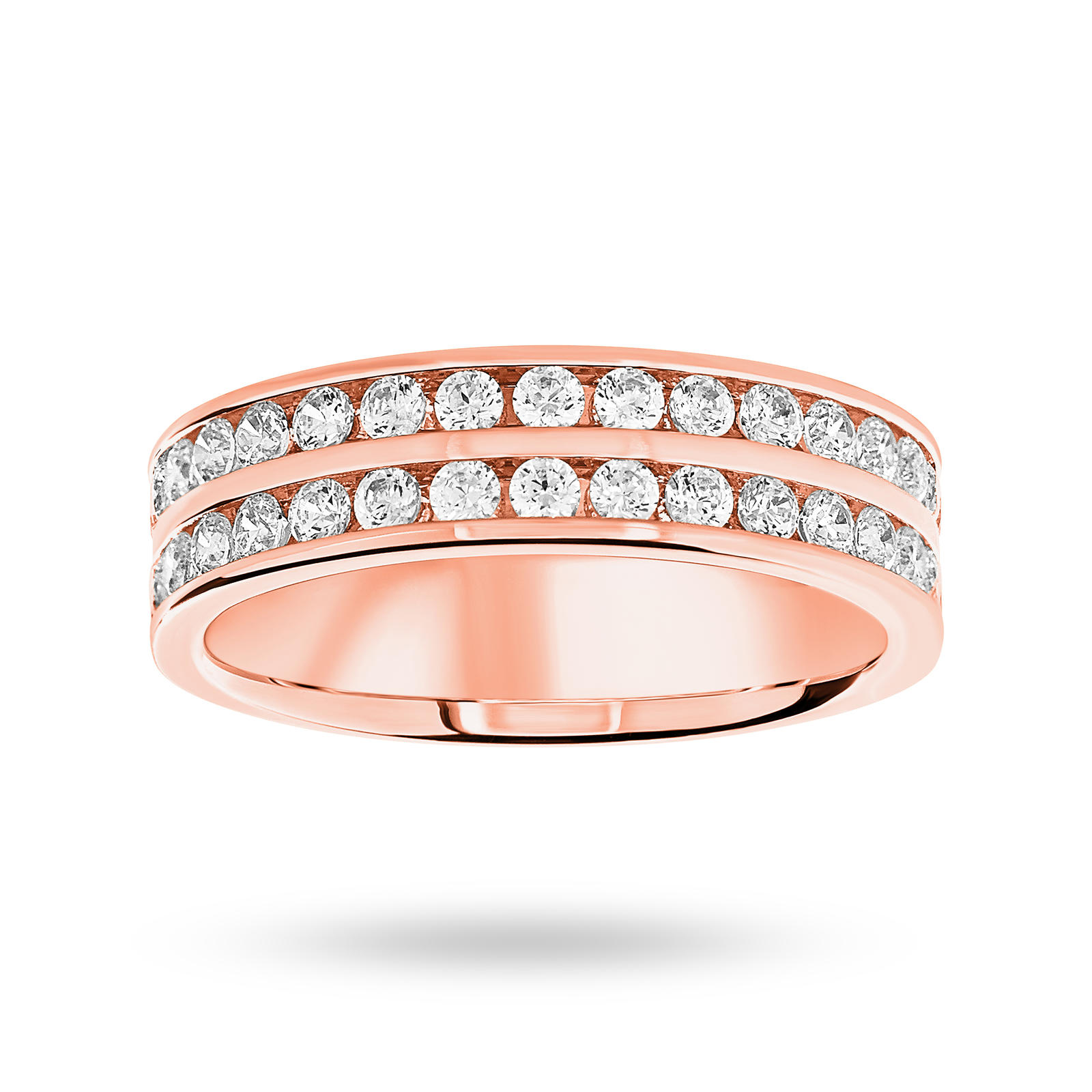 9 Carat Rose Gold 0.75 Carat Brilliant Cut 2 Row Half Eternity Ring