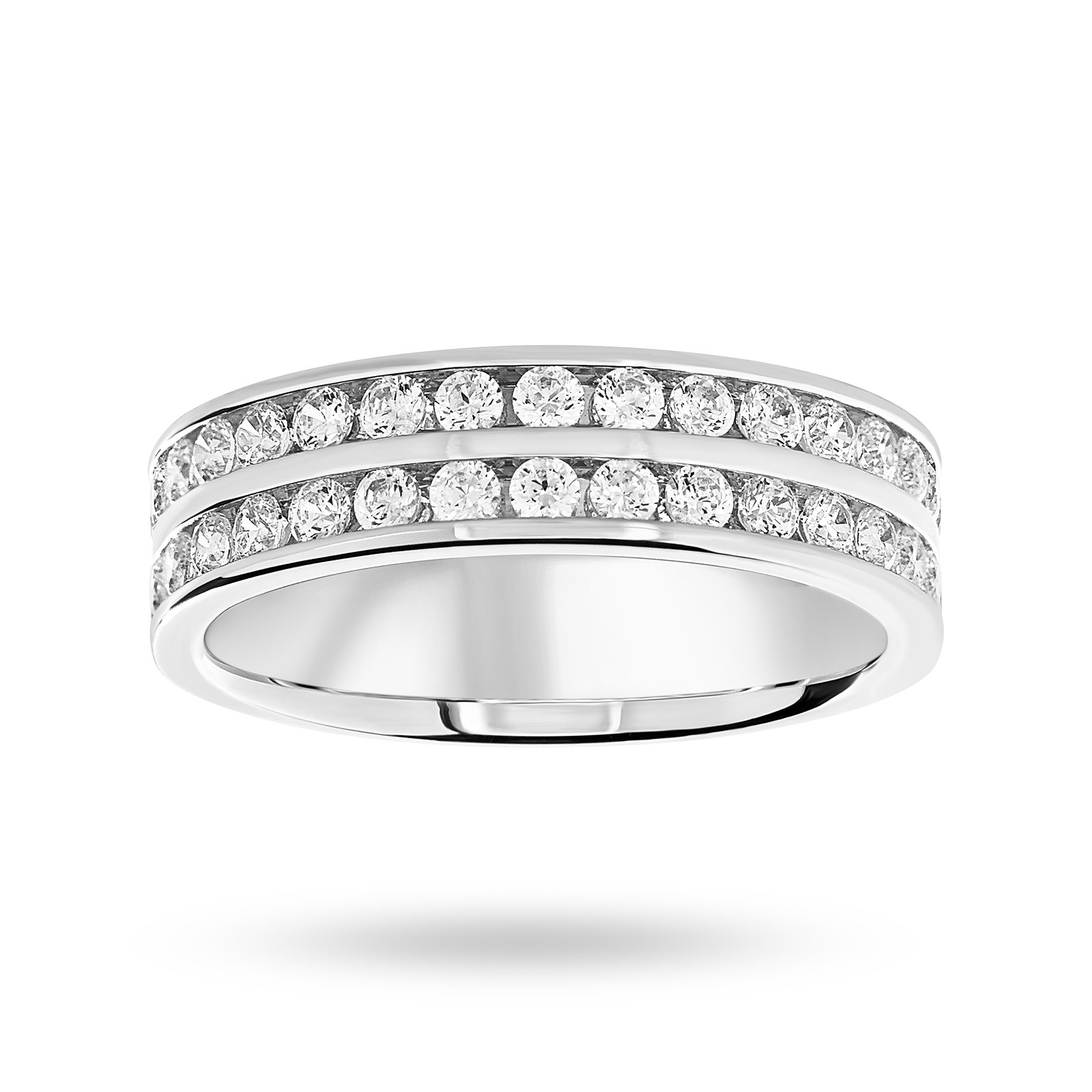 9 Carat White Gold 0.75 Carat Brilliant Cut 2 Row Half Eternity Ring