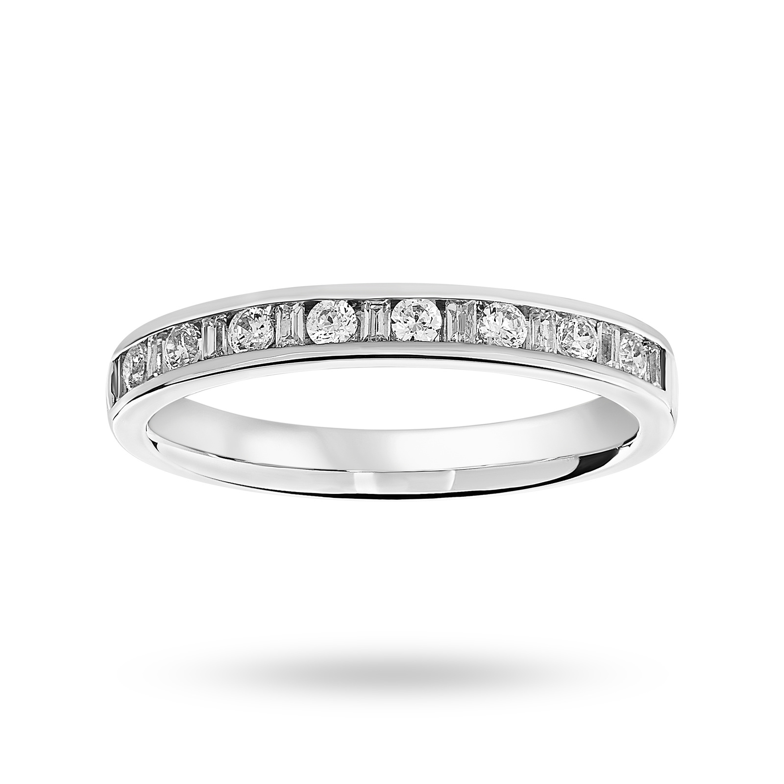 Platinum 0.25 Carat Dot Dash Half Eternity Ring