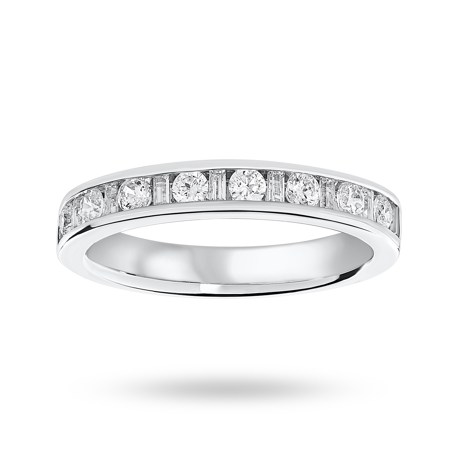18 Carat White Gold 0.50 Carat Dot Dash Half Eternity Ring