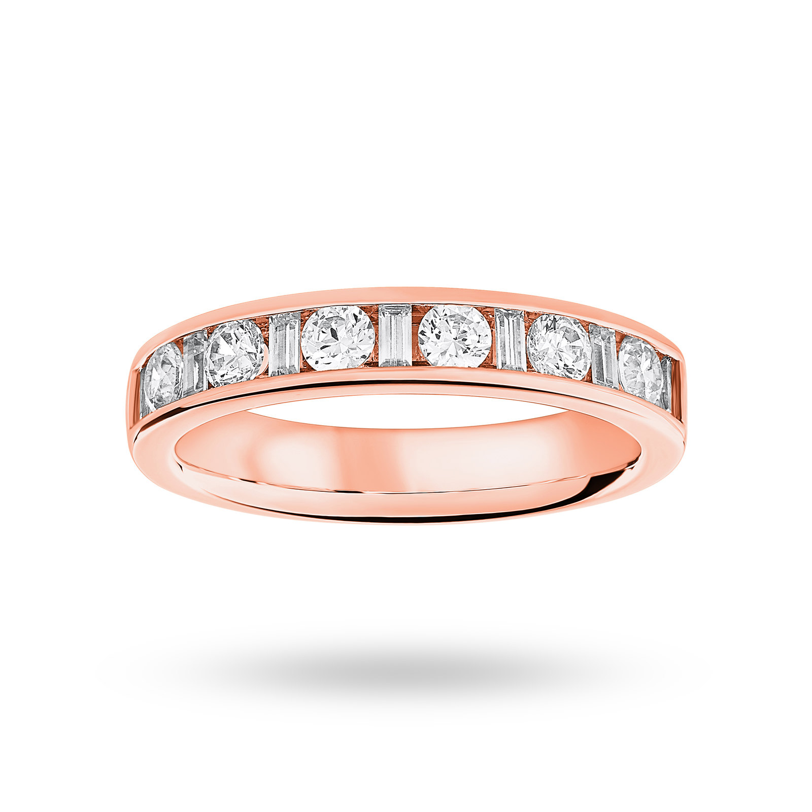 9 Carat Rose Gold 0.75 Carat Dot Dash Half Eternity Ring