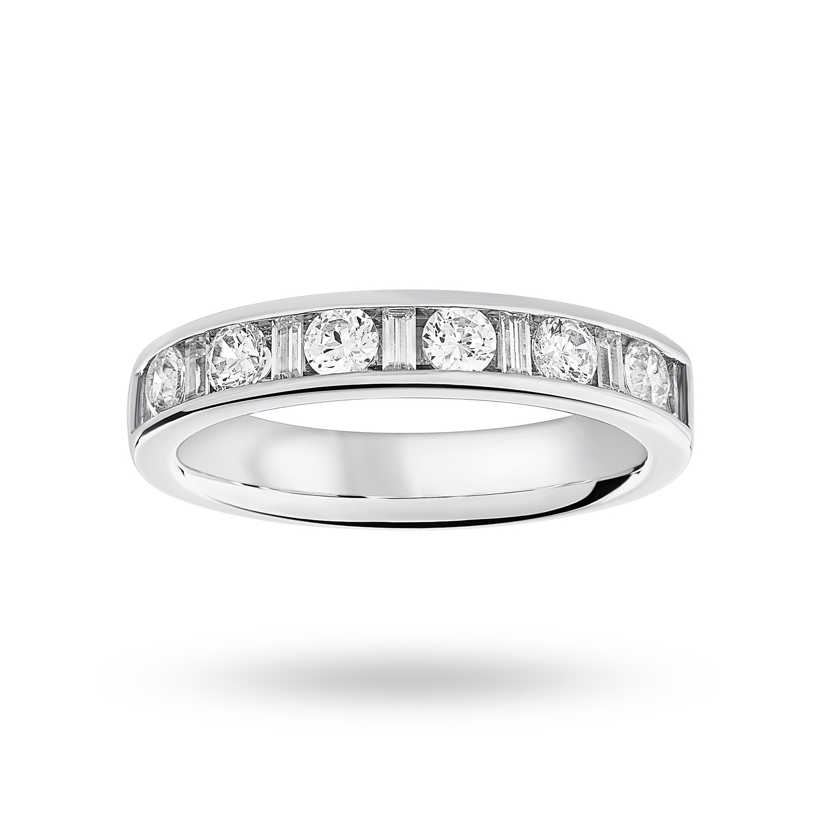 9 Carat White Gold 0.75 Carat Dot Dash Half Eternity Ring