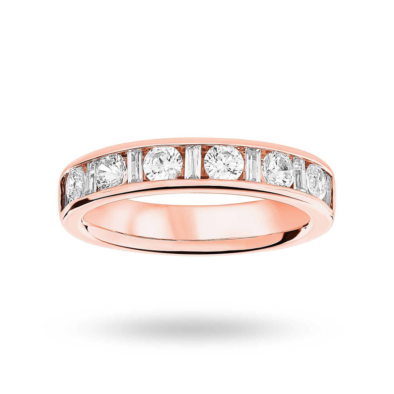18 Carat Rose Gold 1.00 Carat Dot Dash Half Eternity Ring