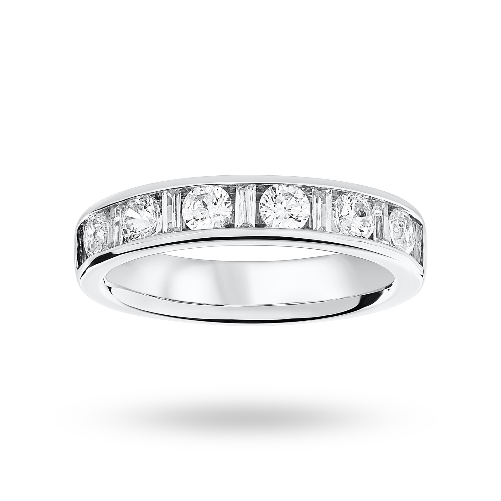 18 Carat White Gold 1.00 Carat Dot Dash Half Eternity Ring