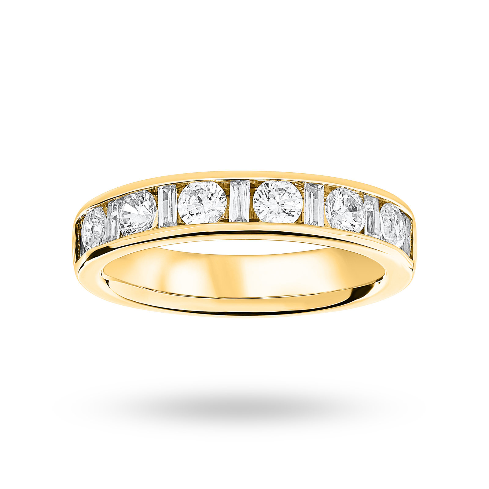 9 Carat Yellow Gold 1.00 Carat Dot Dash Half Eternity Ring