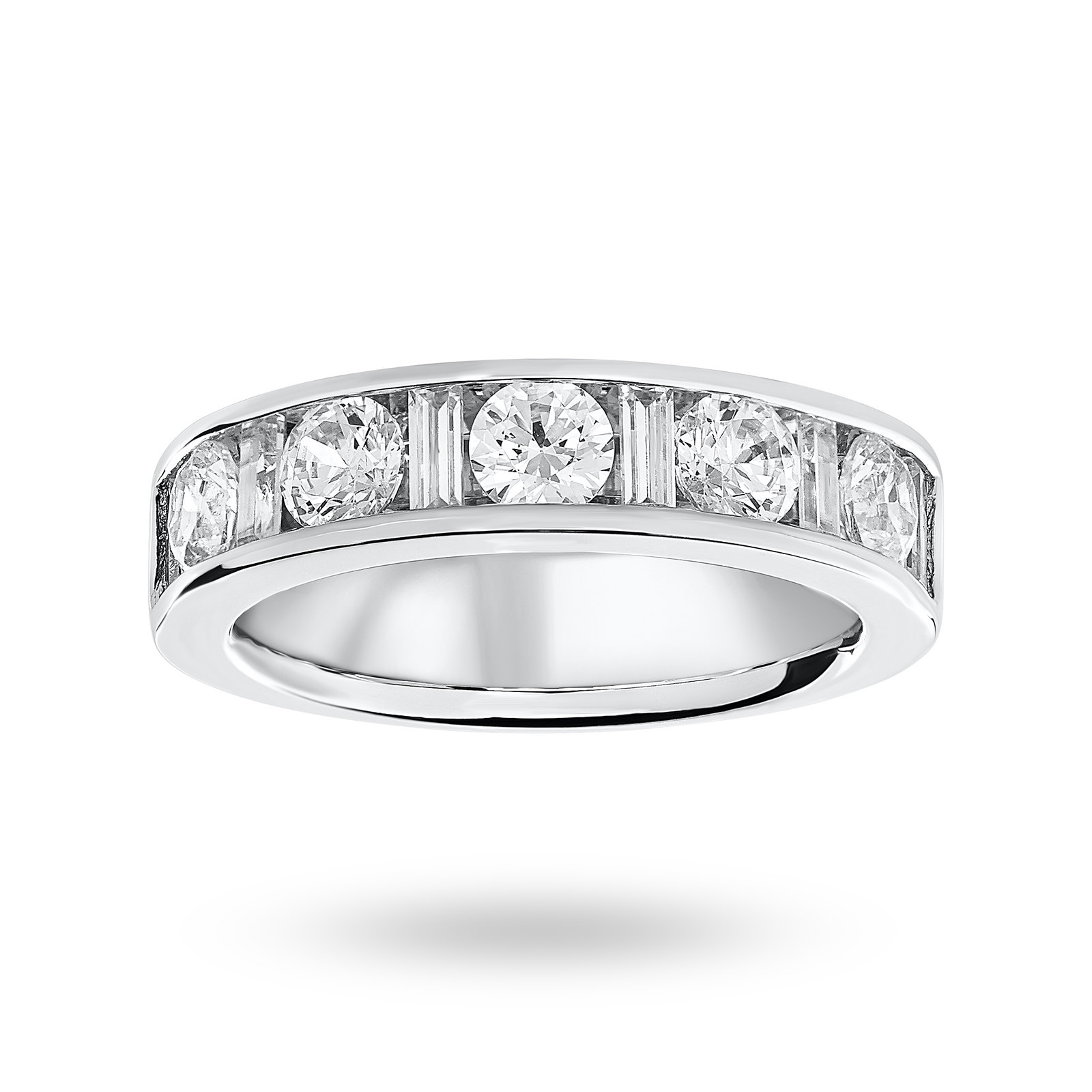 9 Carat White Gold 1.45 Carat Dot Dash Half Eternity Ring