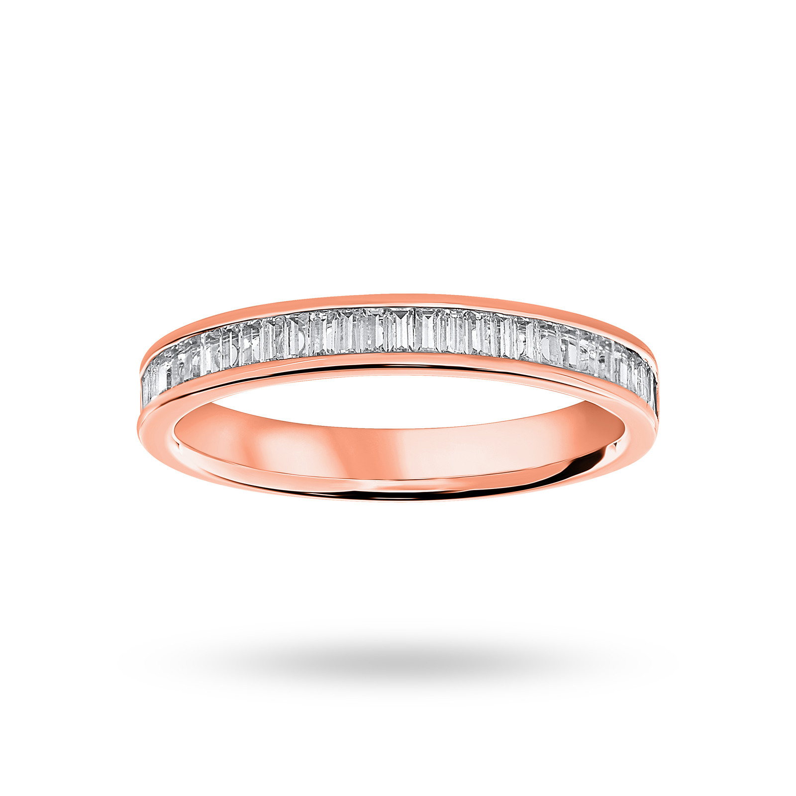 18 Carat Rose Gold 0.33 Carat Baguette Cut Half Eternity Ring