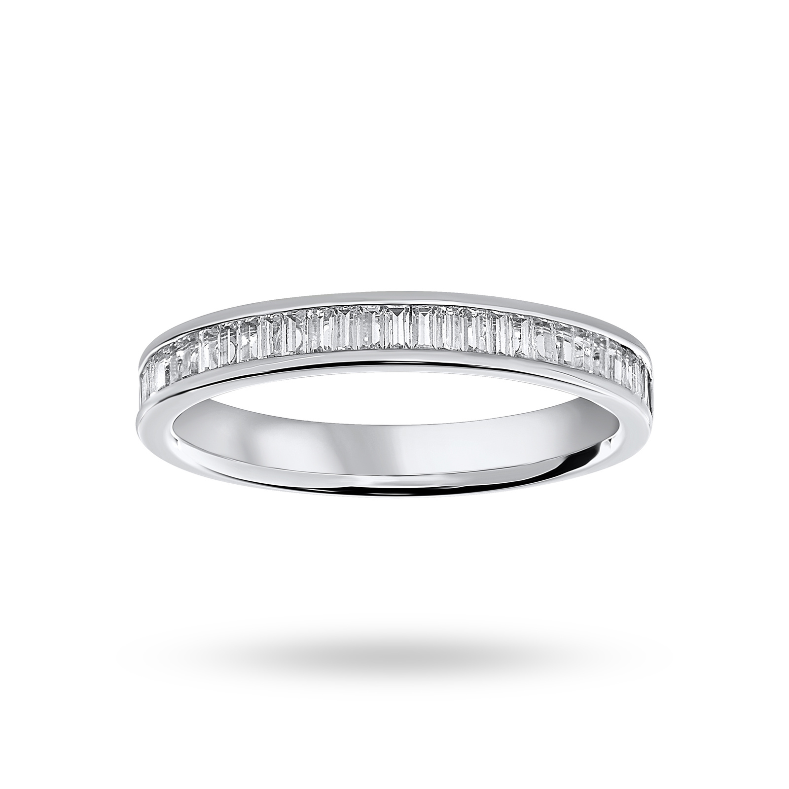 18 Carat White Gold 0.33 Carat Baguette Cut Half Eternity Ring