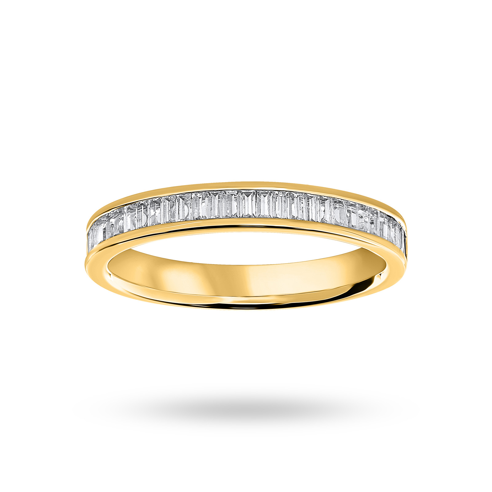 18 Carat Yellow Gold 0.33 Carat Baguette Cut Half Eternity Ring