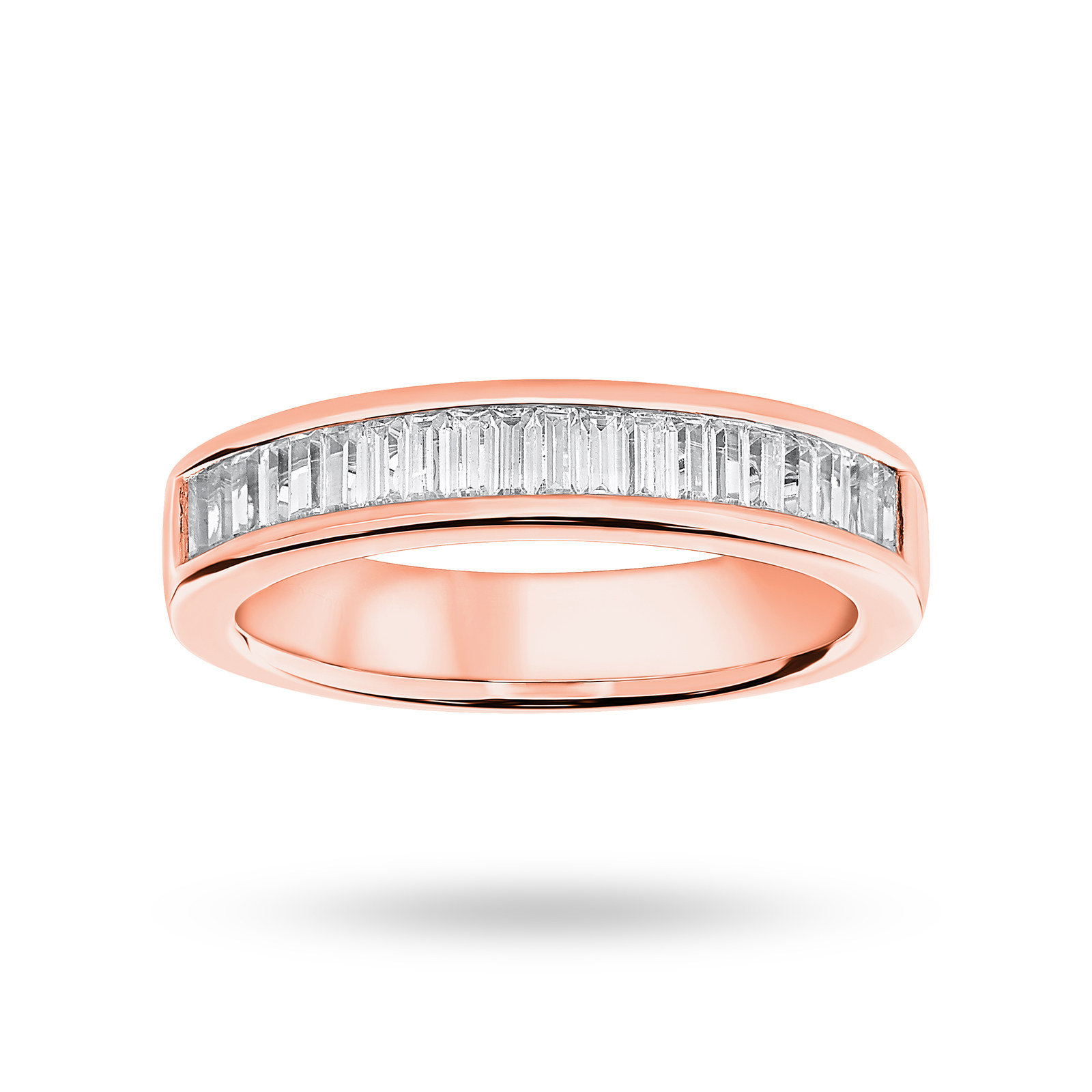18 Carat Rose Gold 0.75 Carat Baguette Cut Half Eternity Ring