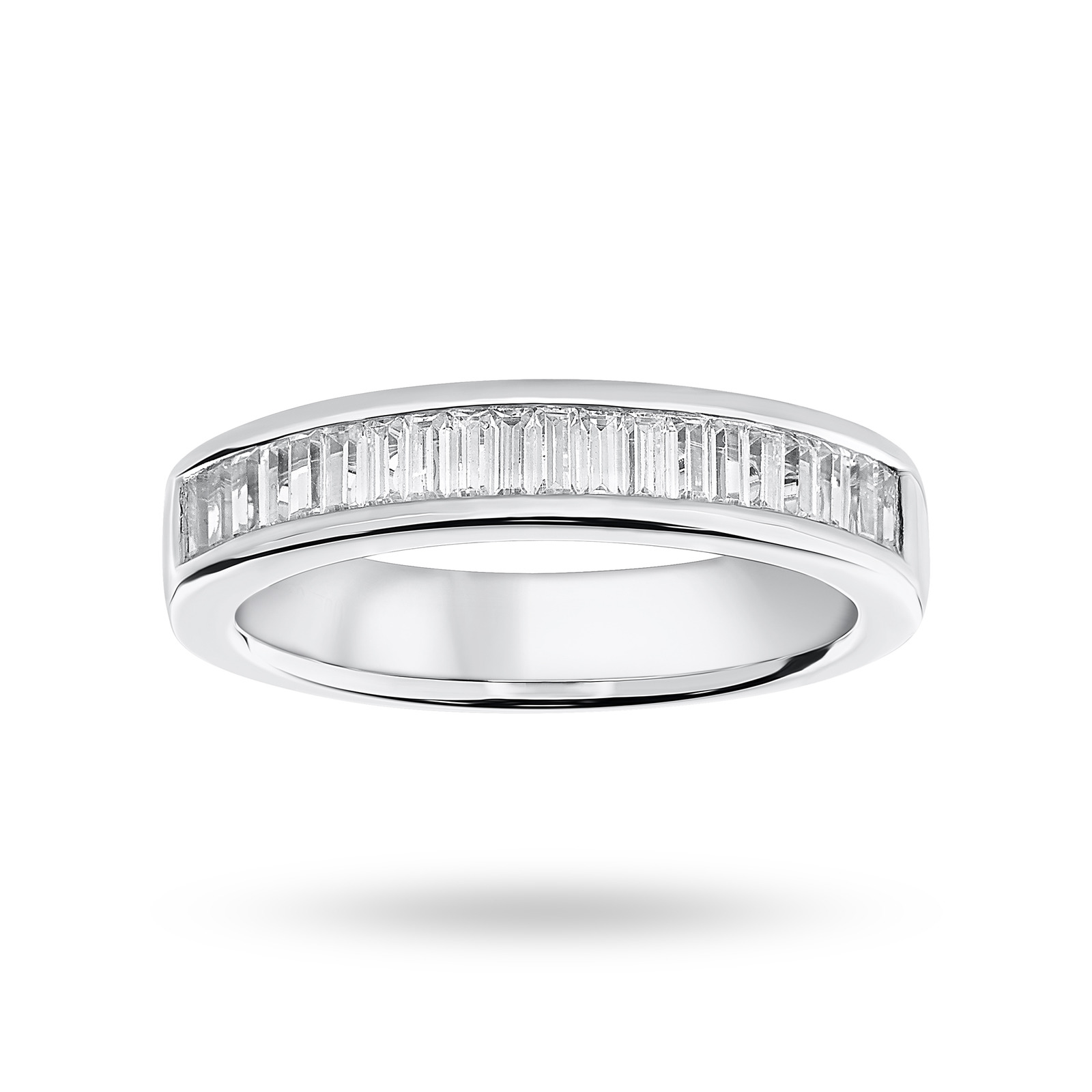 18 Carat White Gold 0.75 Carat Baguette Cut Half Eternity Ring